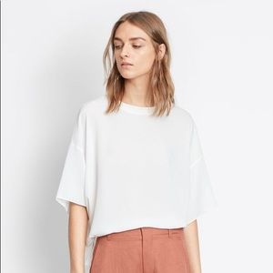 Vince silk rib neck tee new